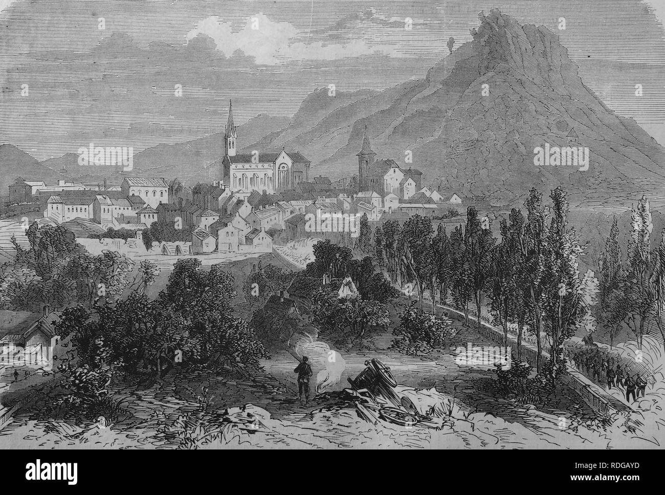 View of Forbach, October 1870, historic illustration, illustrated war chronicle 1870 to 1871, German campaign against France - Stock Image