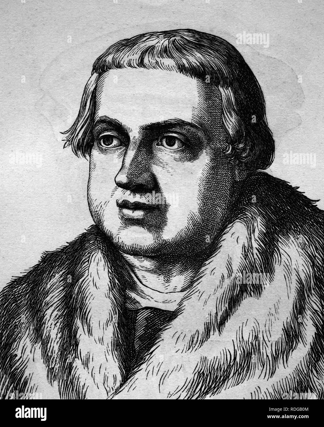 Conrad Peutinger, German lawyer, 1465 - 1547, historical illustration, portrait, 1880 - Stock Image