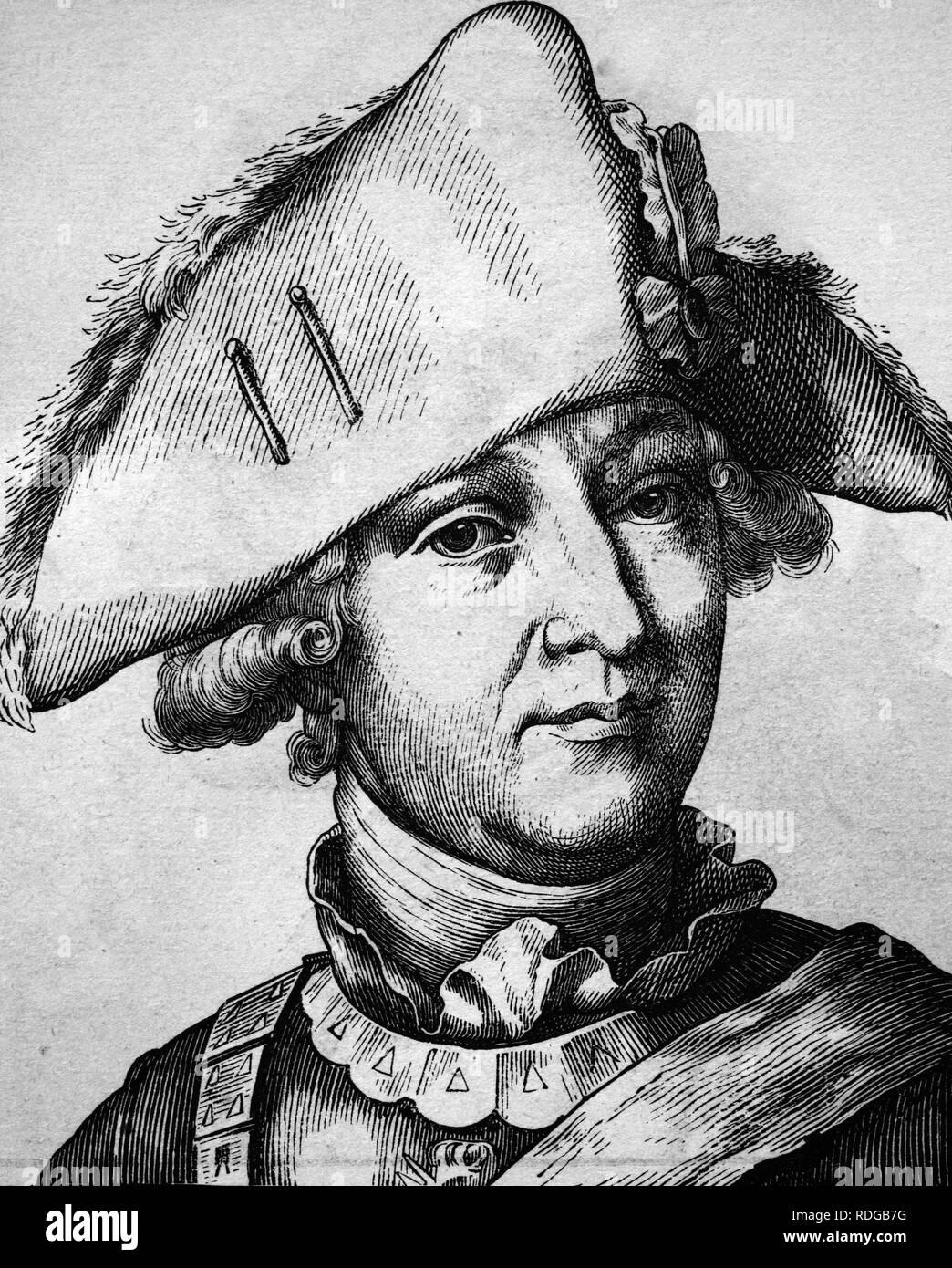 Friedrich Wilhelm, Freiherr von Seydlitz, 1721 - 1773, portrait, historical illustration, 1880 Stock Photo