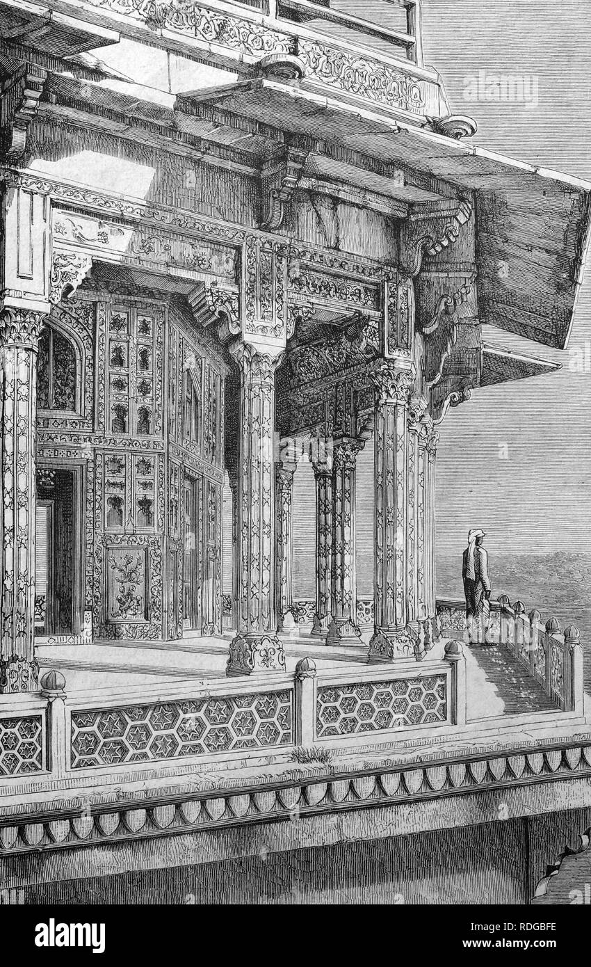 Agra Fort, Zenanah at Shah Dschehan Palace, India, historic illustration, 1877 - Stock Image