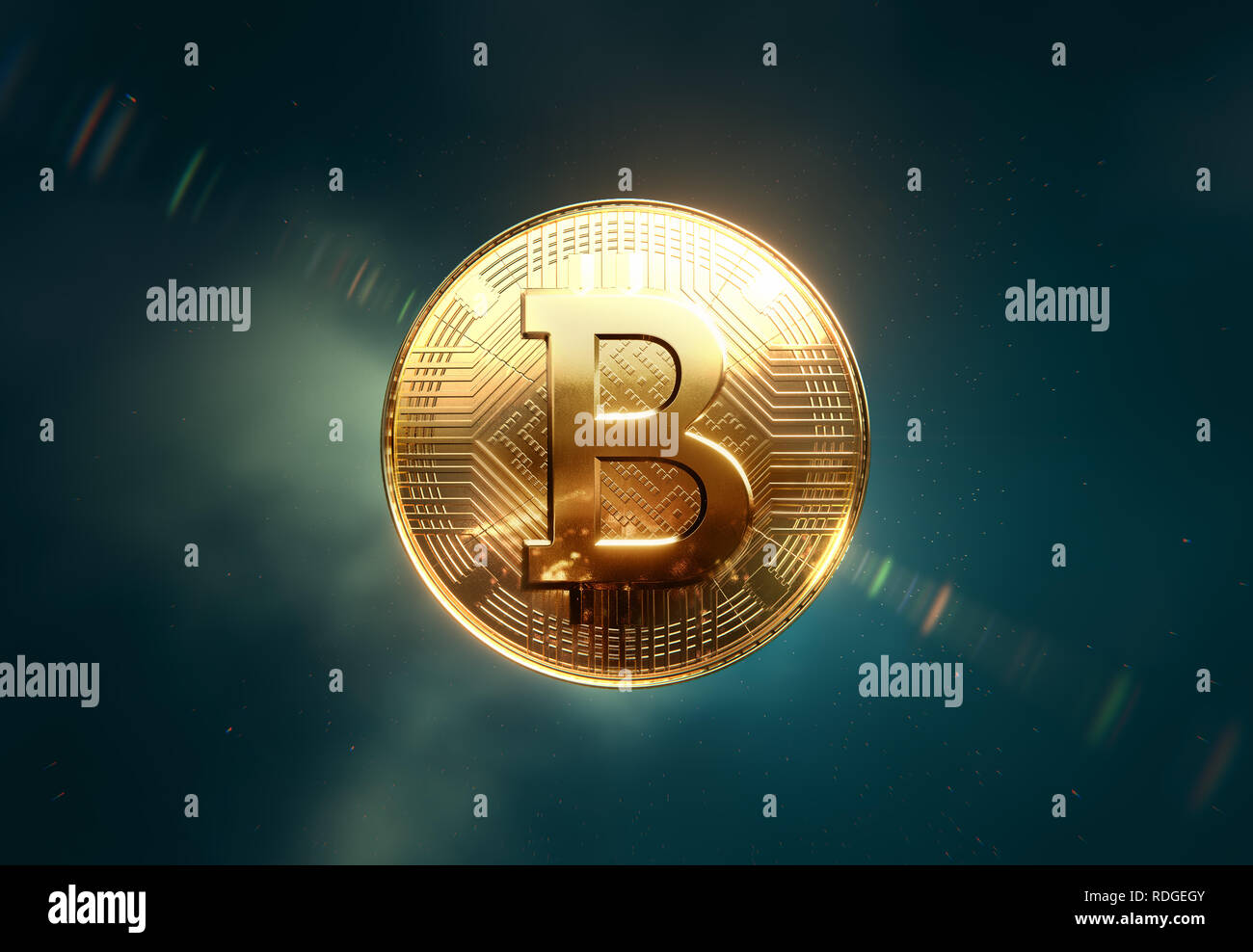 Golden Bitcoin coin, front view in space, clean background, 3D illustration Stock Photo