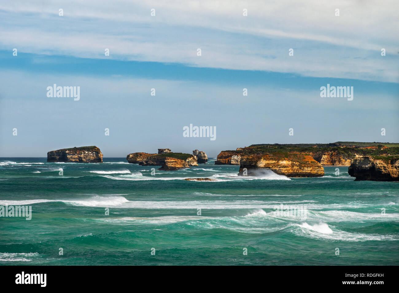 Many islands in Massacre Bay. - Stock Image