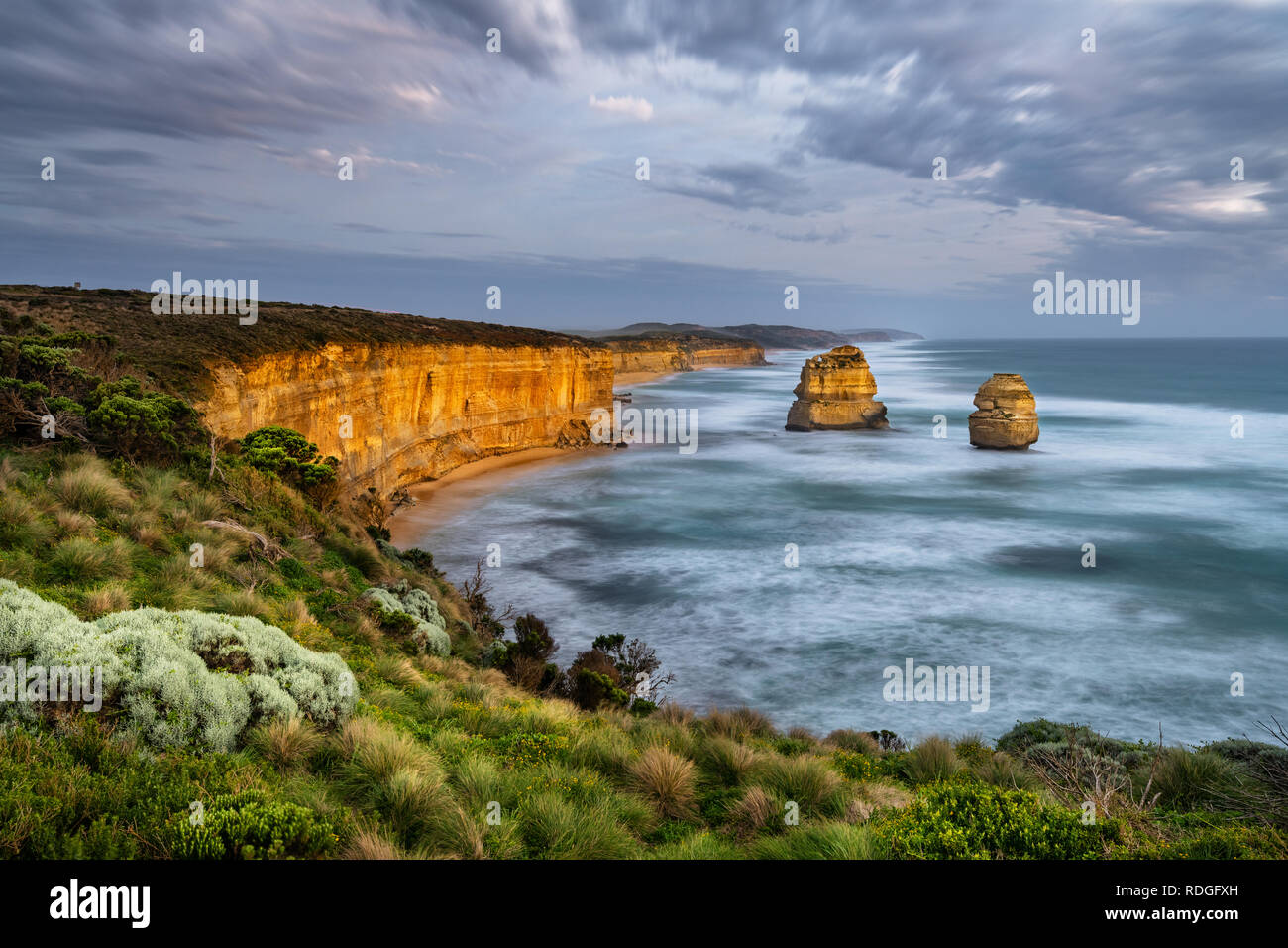 Famous sea stacks of the Great Ocean Road. Stock Photo