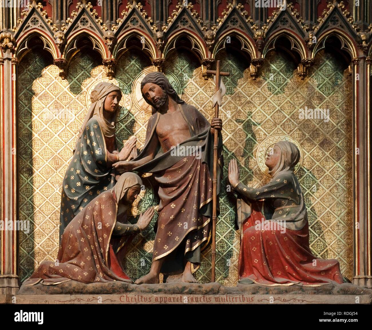 Scene of the life of Christ, the risen Christ appears to the Holy Women, Notre Dame de Paris cathedral, Paris, France, Europe - Stock Image