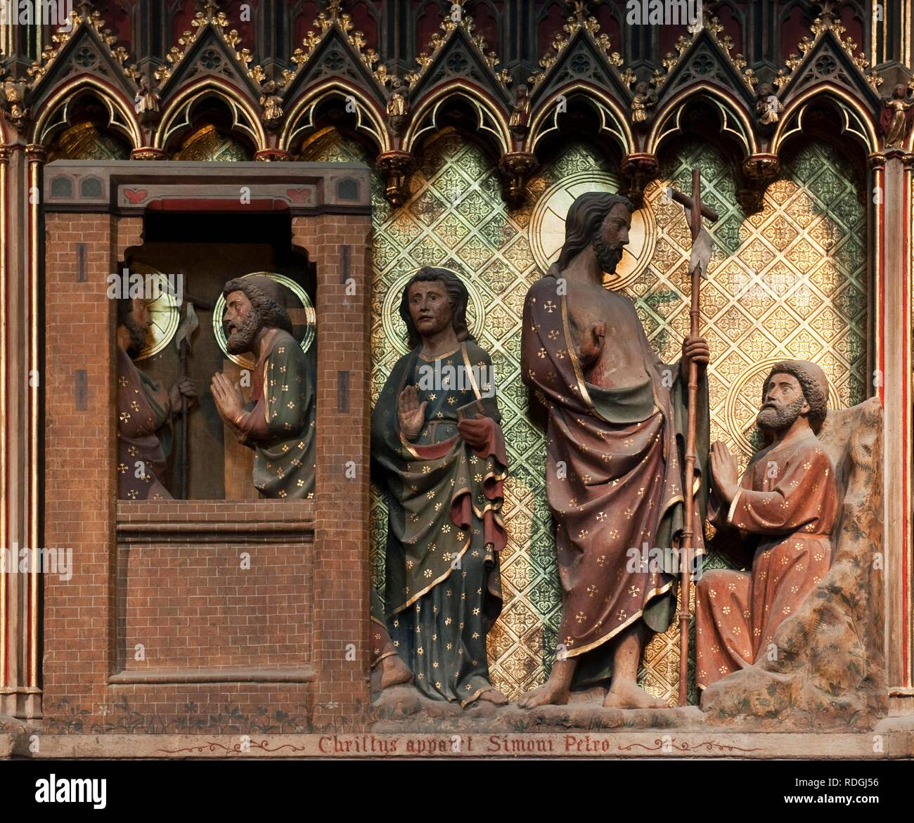 Scene of the life of the Christ, the risen Christ appears to Peter and John, Notre Dame de Paris cathedral, Paris, France - Stock Image