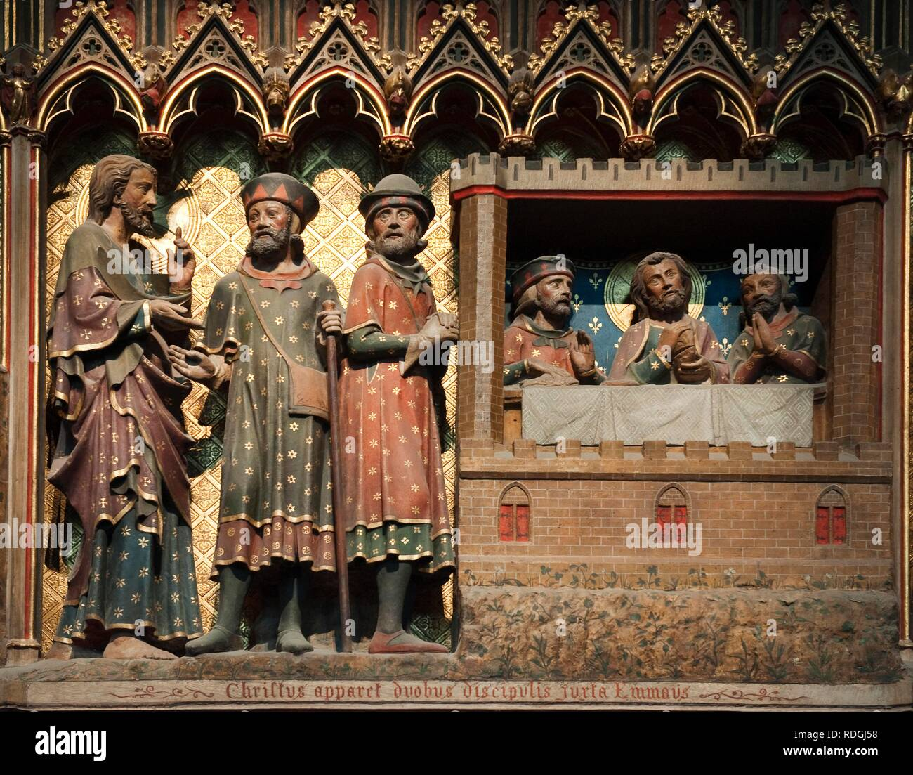 Scene of the life of the Christ, the risen Christ appears to two disciples at Emmaus, Notre Dame de Paris cathedral, Paris - Stock Image