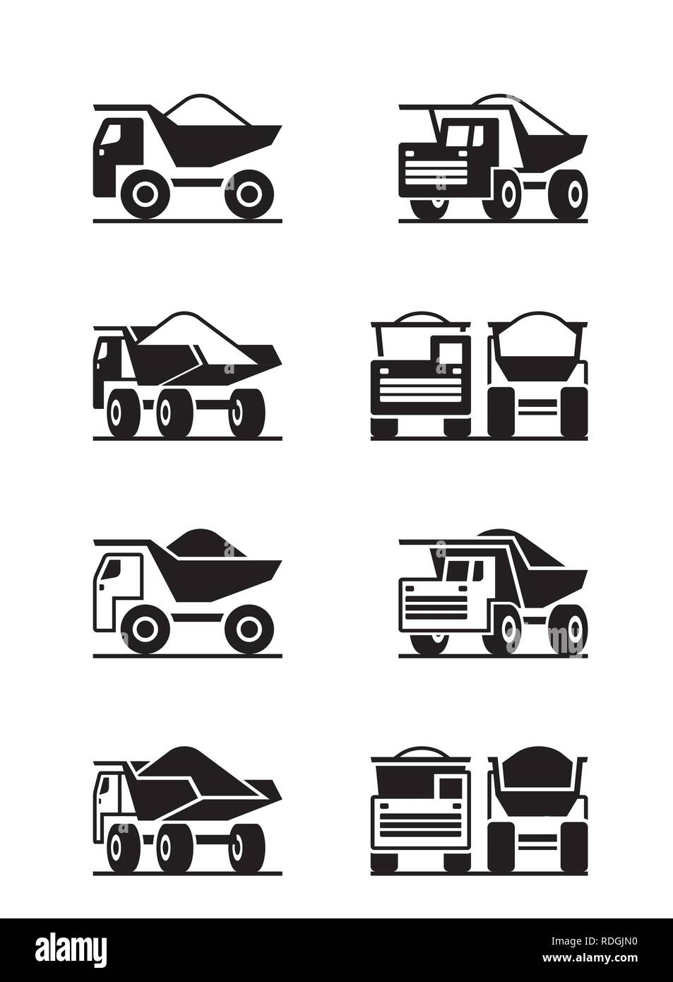 Heavy duty truck in different perspective - vector illustration - Stock Vector