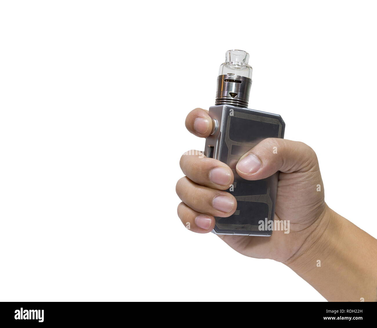 Man holding a big electronic cigarettes or vapor cigarette isolated on white background. - Stock Image
