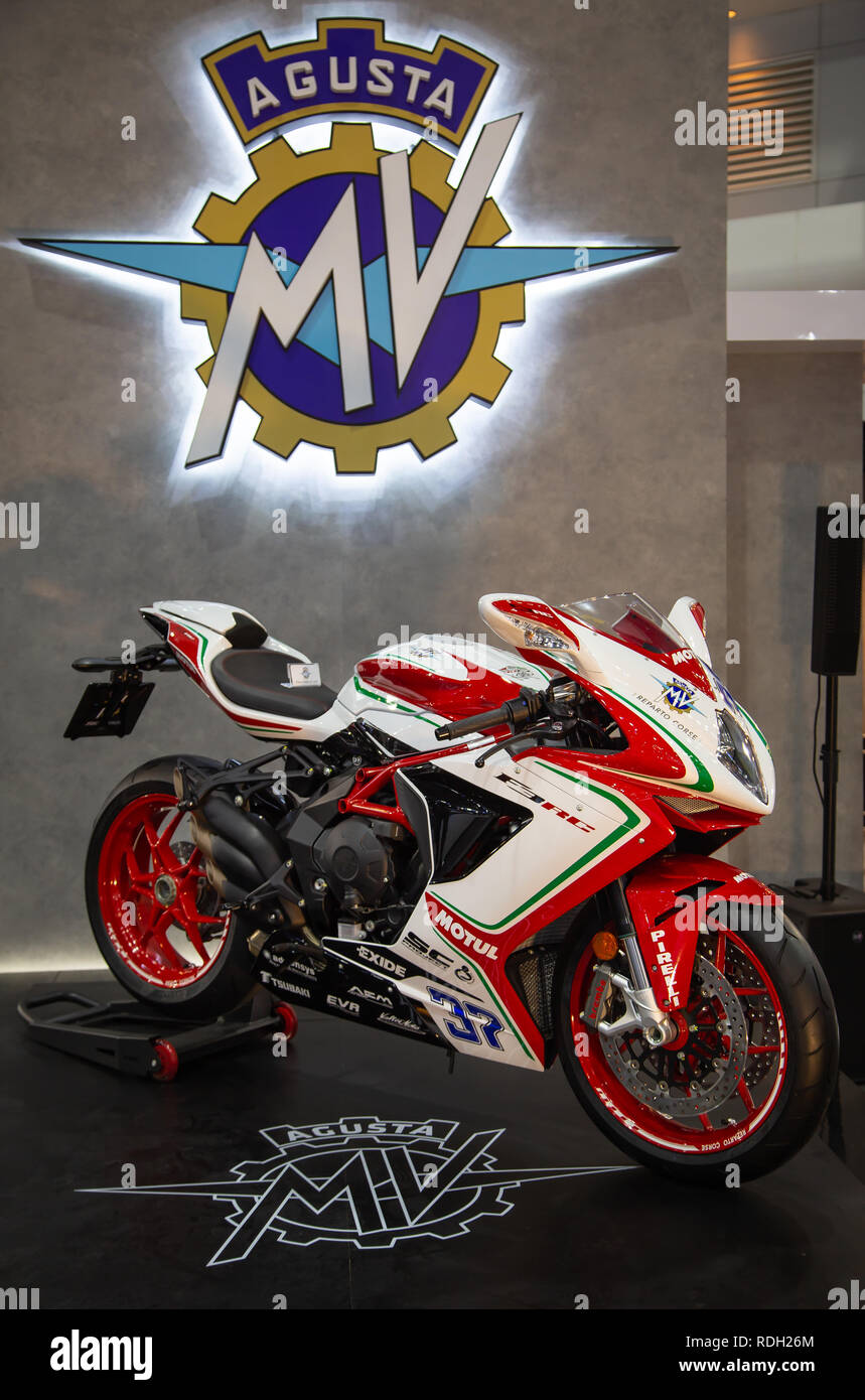 Nonthaburi, Thailand - December 4, 2018: MV Agusta F3 800 RC presented in Motor Expo 2018 - Stock Image