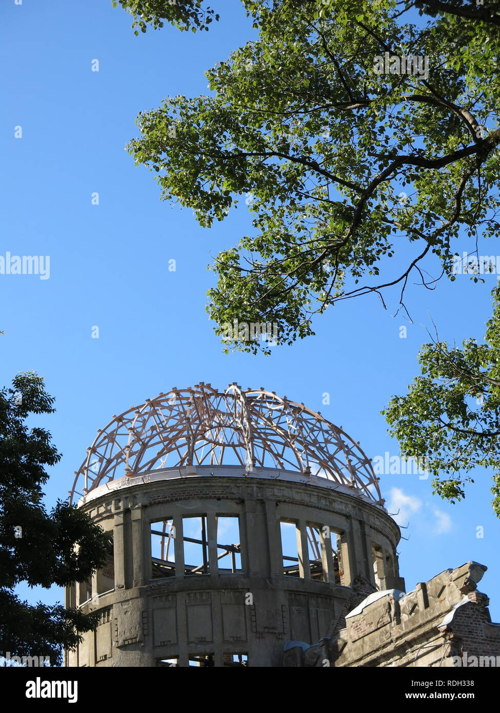 The A-bomb Dome at Hiroshima Peace Memorial Park; the skeletal remains of the former Hall, closest to the hypocentre of the nuclear attack. - Stock Image