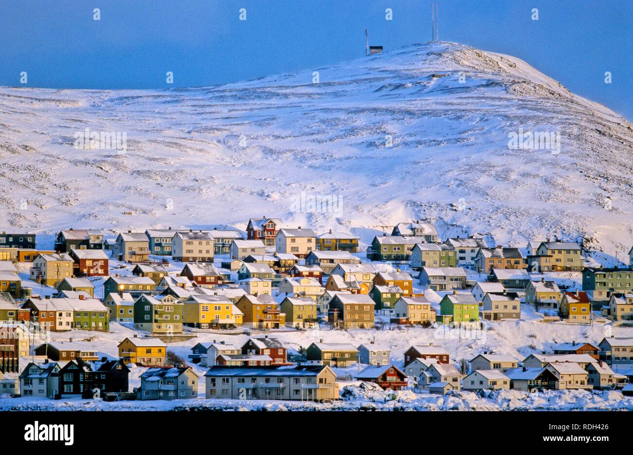 Village of Honningsvag on North Cape island of Mageroya, Norway, Europe - Stock Image