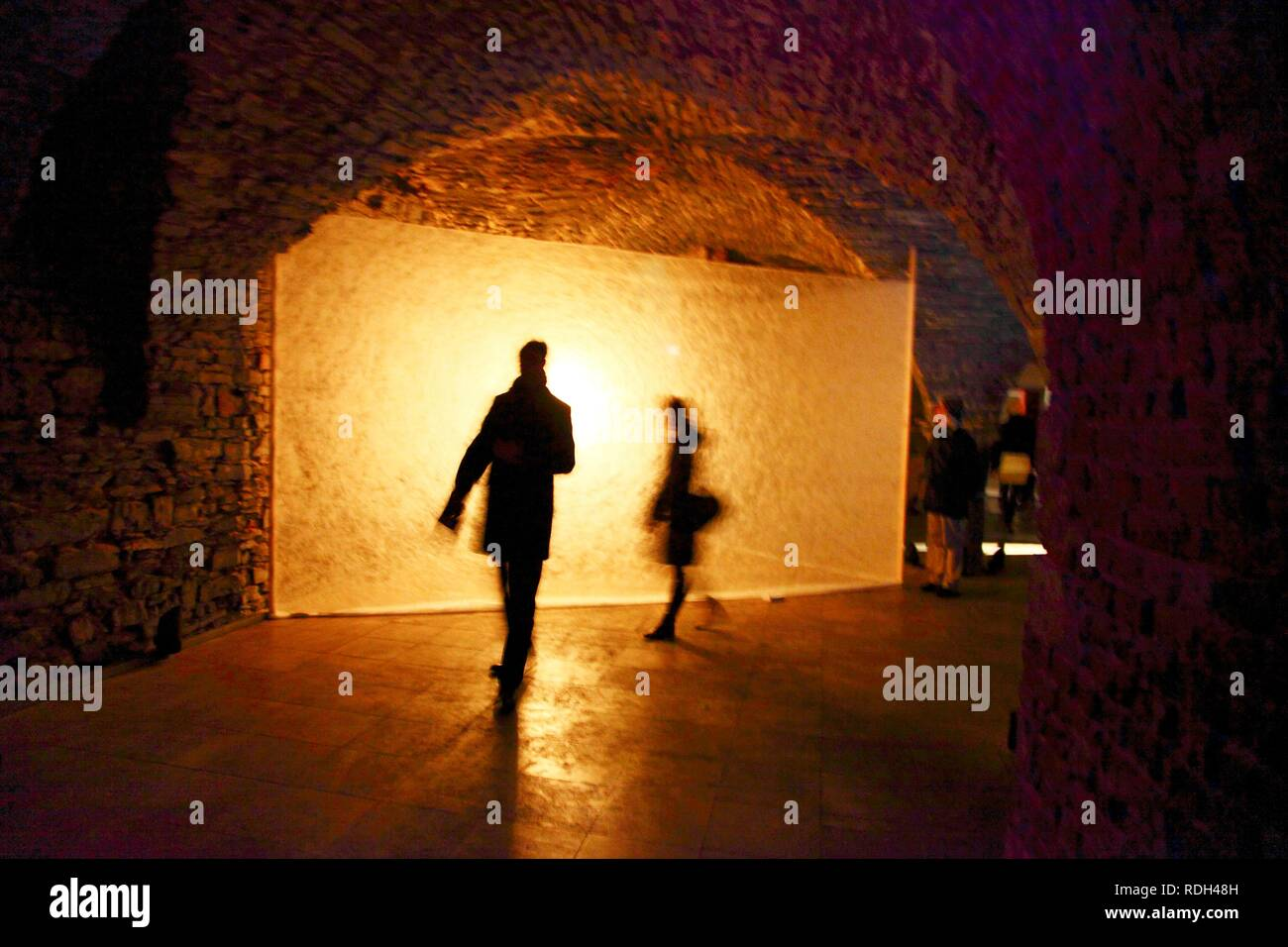 Openlight 1.0, indoor light installations at the NH Hotel, Ghent Light Festival, East Flanders, Belgium, Europe - Stock Image