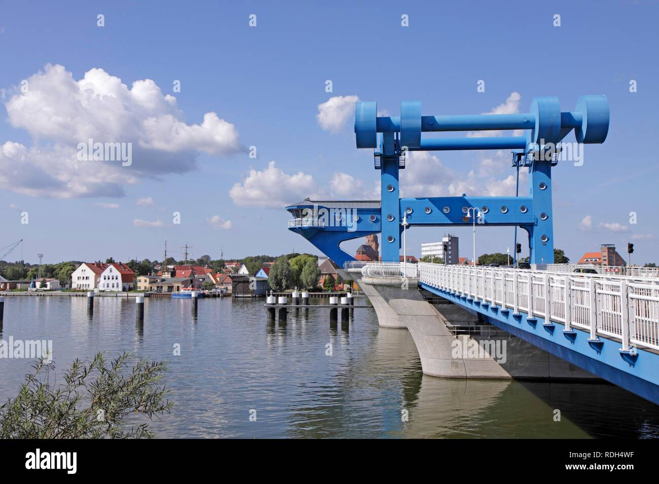 Lift bridge between Wolgast and Usedom island, Baltic Sea, Mecklenburg-Western Pomerania - Stock Image