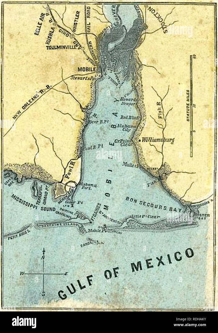 Map of Mobile Bay, 1861: shows Fort Gaines (lower center) on Dauphin Dauphin Island Map on