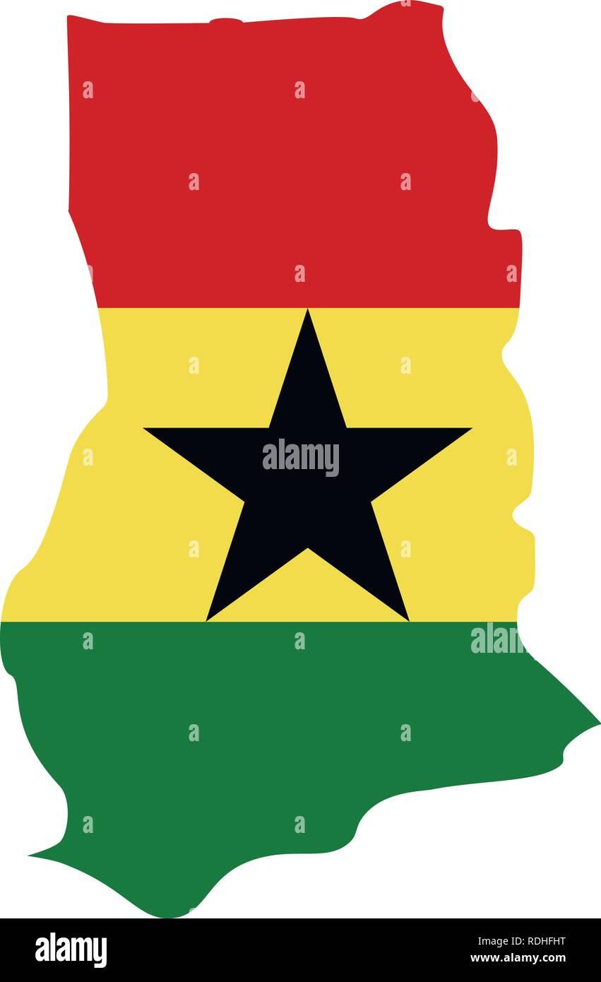 map of Ghana with flag inside. Ghana map vector illustration - Stock Vector