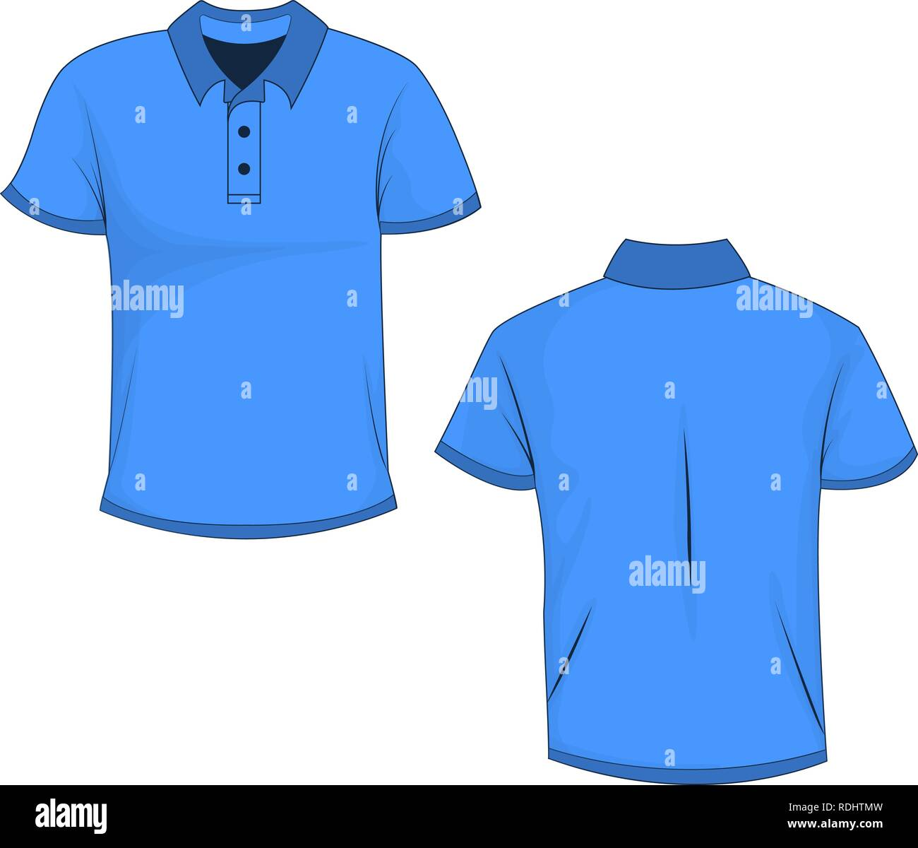 front and back view of blue polo  t