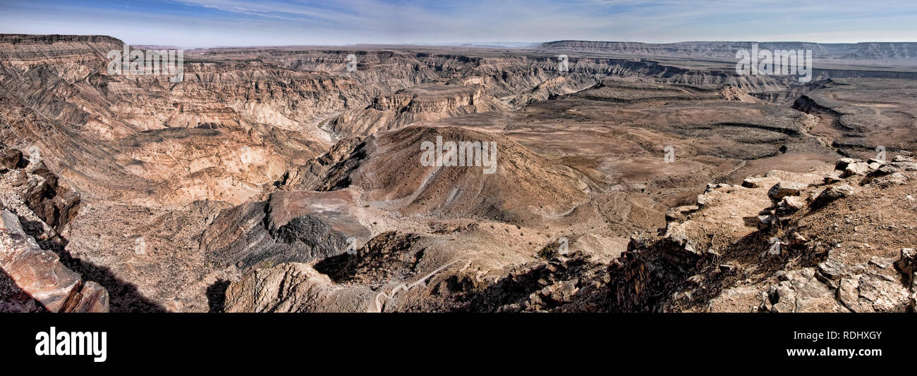 The Fish River Canyon is one of the most visited destinations in Namibia and the hiking trail through the canyon is a popular backpacking destination - Stock Image