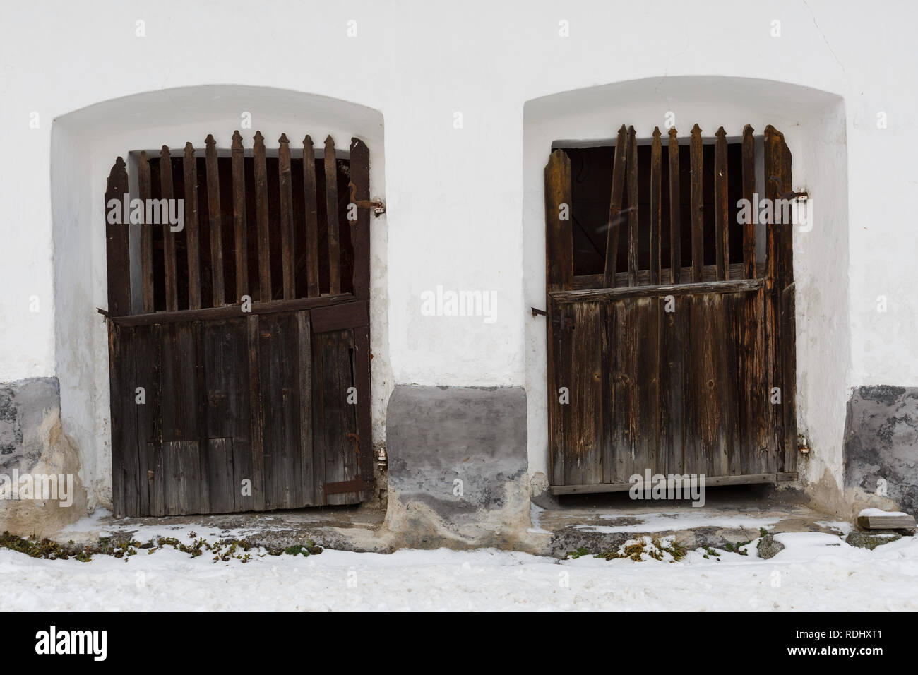 Doors of a traditional granary in Karlova village, northern Slovakia. - Stock Image