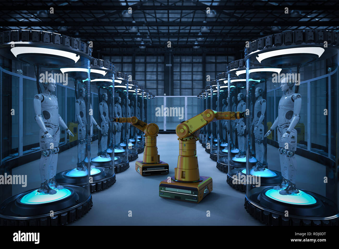Robot production line with 3d rendering robots in glass capsules - Stock Image