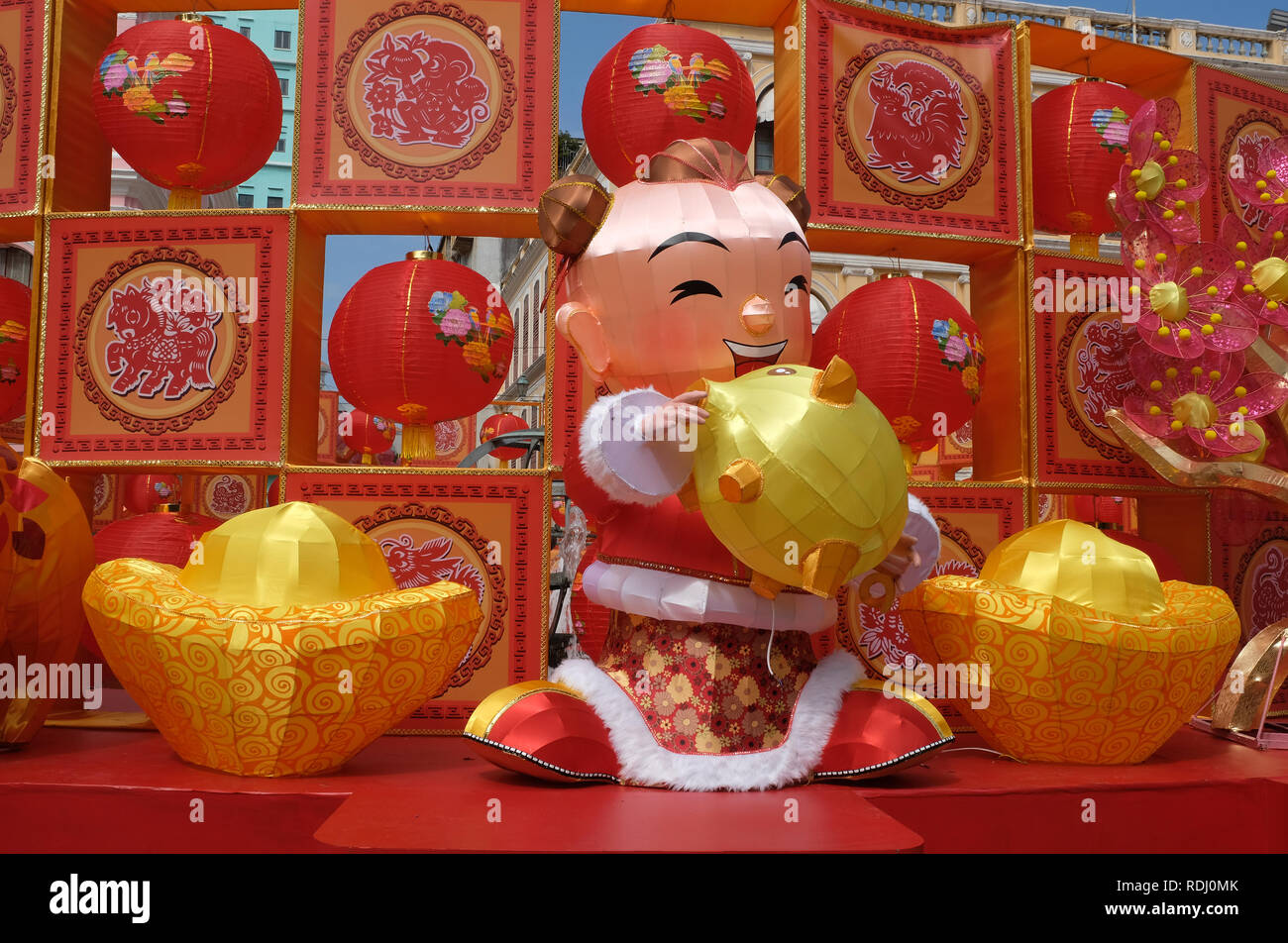 Display to celebrate Chinese New Year of the pig in Macau, China - Stock Image