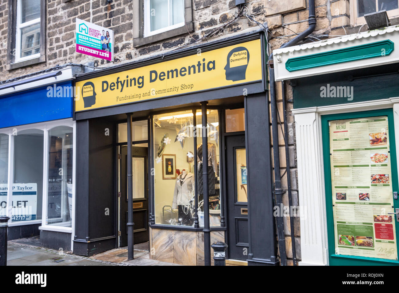 Defying Dementia, fundraising and charitable shop in Lancaster to assist with this illness,Lancashire,England - Stock Image