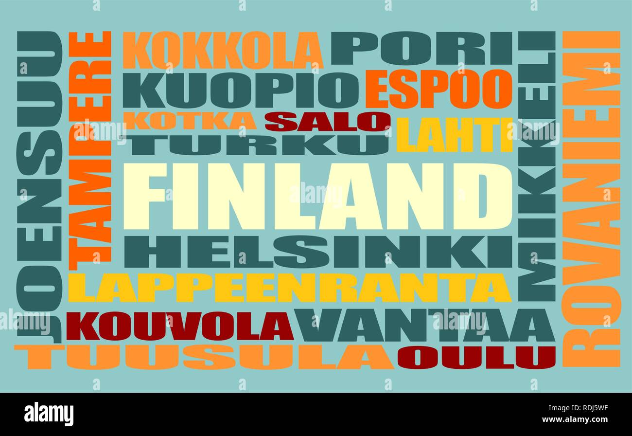 finland tags cloud - Stock Vector
