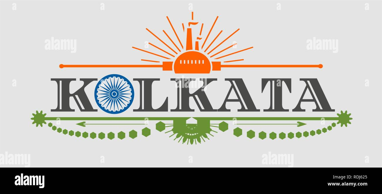 Kolkata city name with flag colors styled letter O  - Stock Vector
