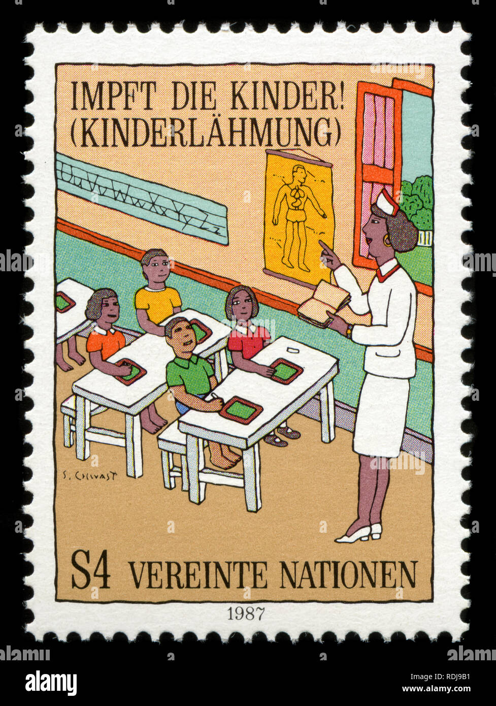 Postage stamp from the United Nations offices in Vienna issued in 1987 - Stock Image