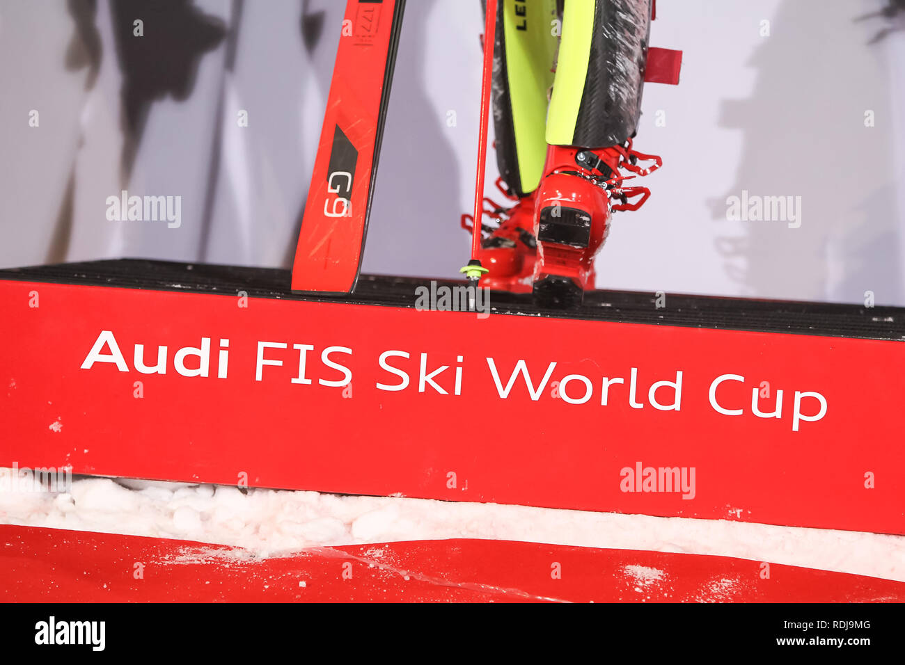 Zagreb, Croatia - January 5, 2019 : Audi FIS Ski World Cup logo on the award ceremony of the Audi FIS Alpine Ski World Cup Women's Slalom, Snow Queen  - Stock Image