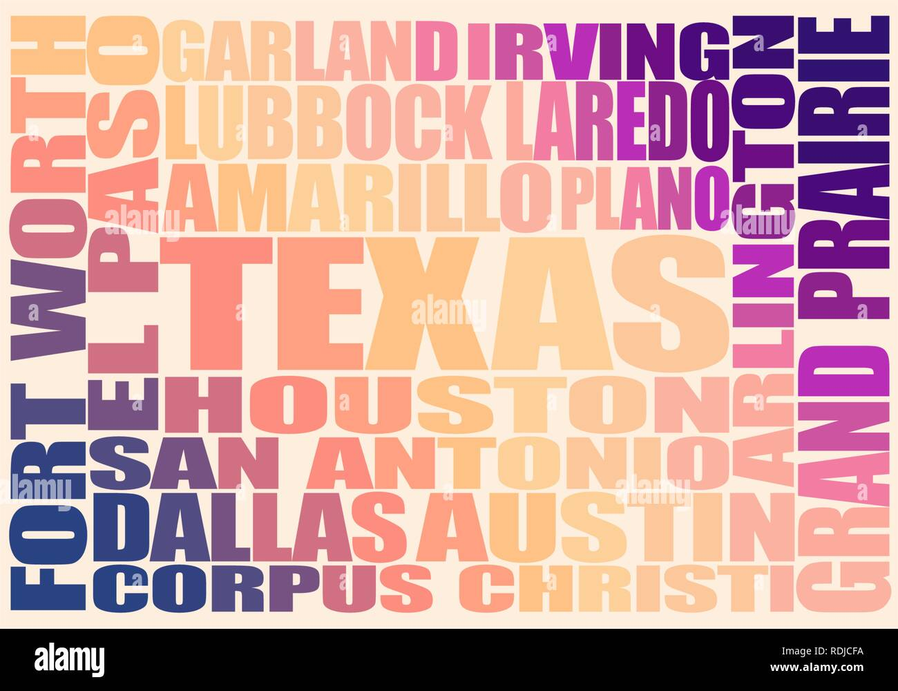 Texas state cities list - Stock Vector