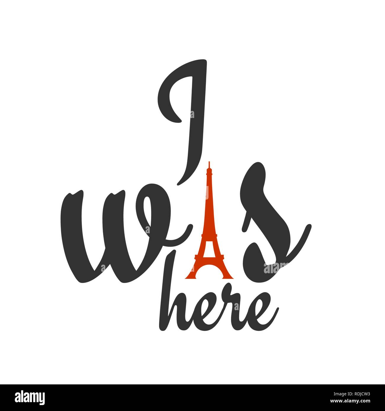 Paris architectural icon with lettering - Stock Vector
