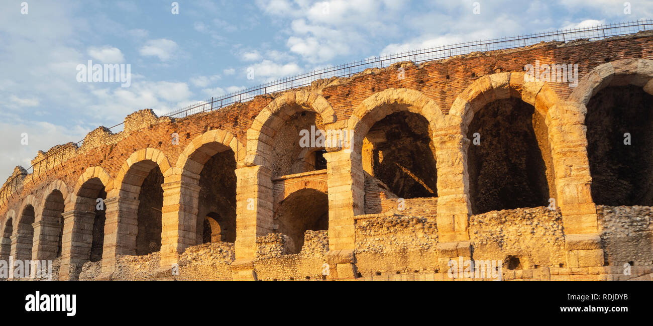 Verona, Italy. The Verona Arena is a Roman amphitheater in the city center, built in the first century Stock Photo