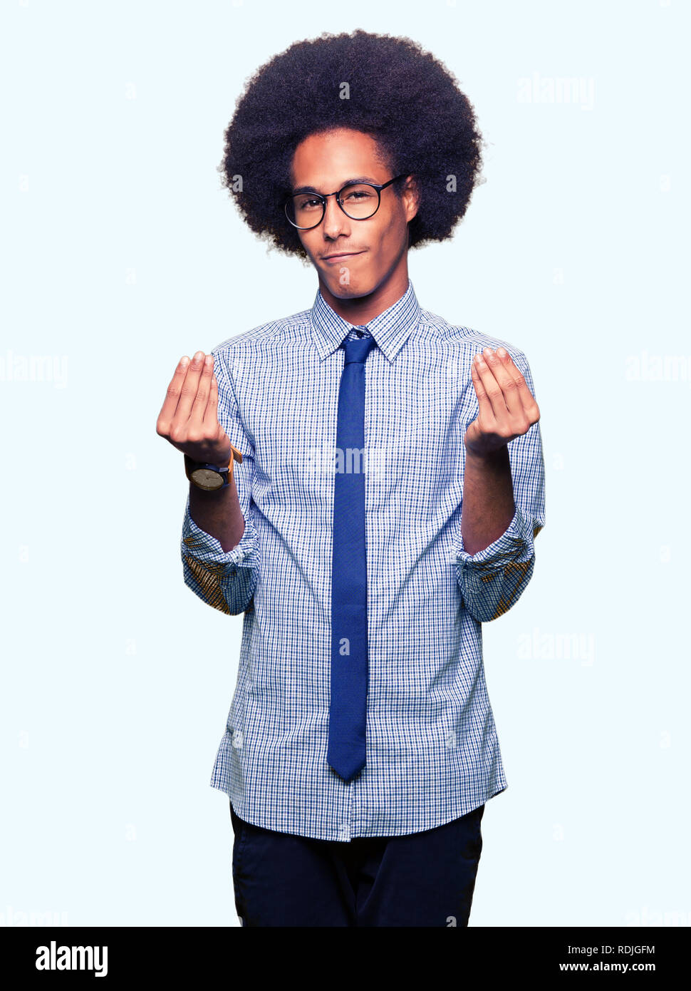 7125d4de591a Young african american business man with afro hair wearing glasses Doing  money gesture with hand
