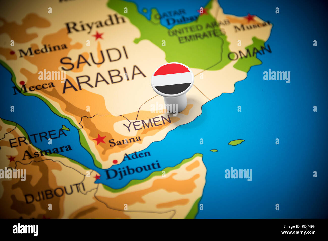 Yemeni marked with a flag on the map - Stock Image