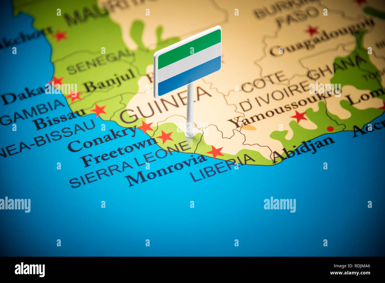 Sierra Leone marked with a flag on the map - Stock Image