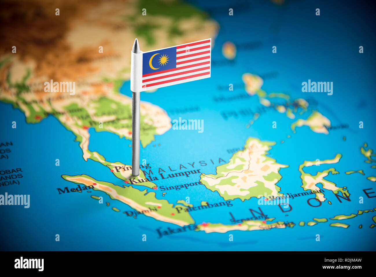 Malaysia marked with a flag on the map Stock Photo ... on myanmar on a map, samoan islands on a map, guangxi on a map, nepal on a map, singapore on a map, the sudan on a map, santa domingo on a map, southern india on a map, waziristan on a map, east timor on a map, heard island on a map, syria on a map, st john island on a map, world map, siam on a map, bangladesh on a map, sri lanka on a map, the seychelles on a map, kabul river on a map, dr congo on a map,