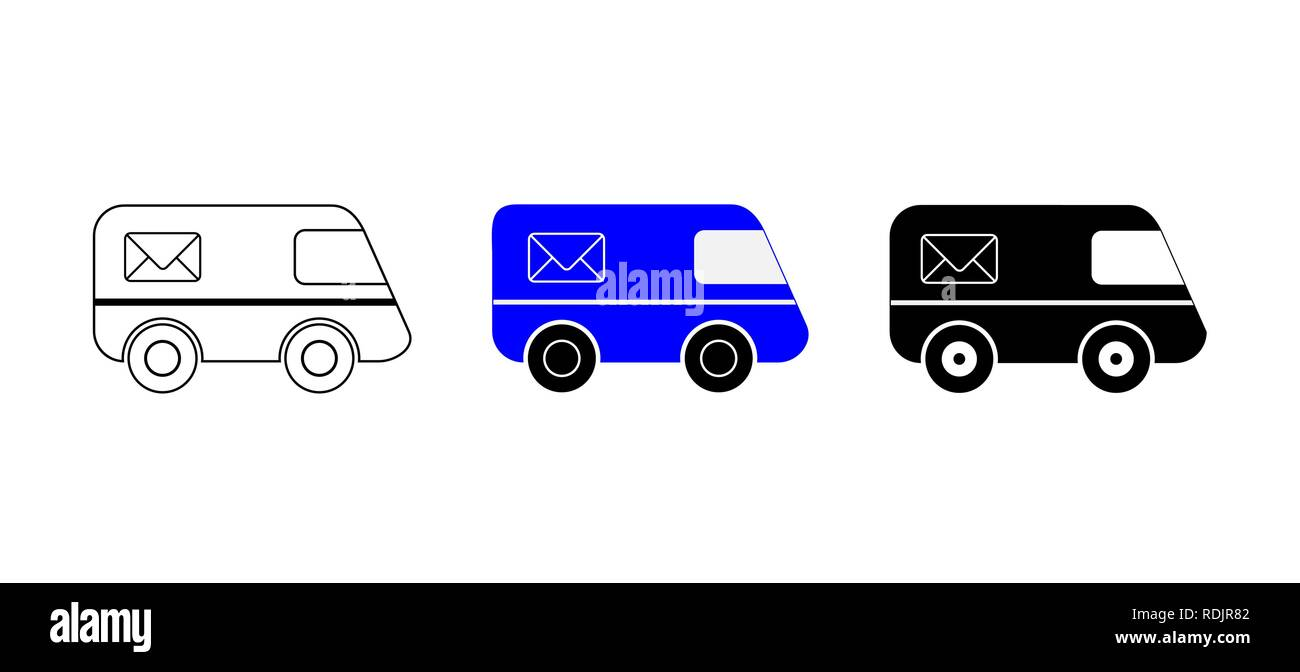 Set of 3 cars for postal service, contour, color and silhouette - Stock Image