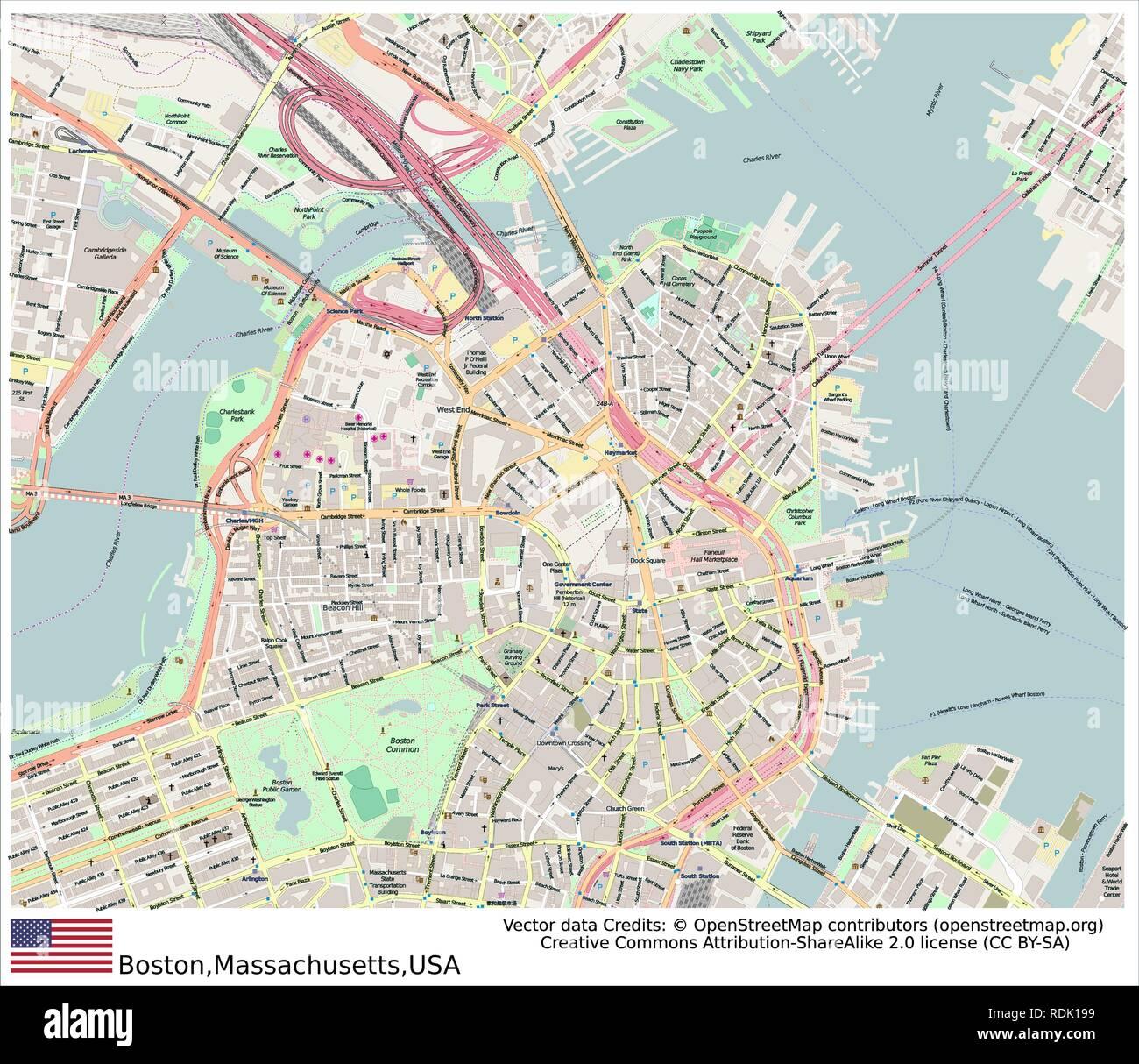 Boston,Massachusetts,United States, - Stock Vector
