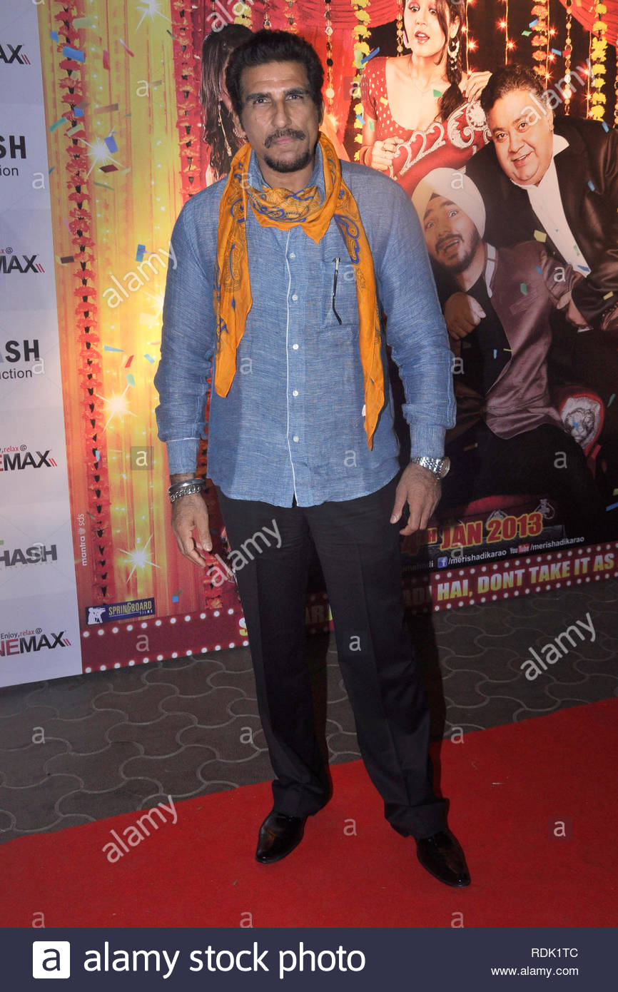 Bollywood actor Mukesh Rishi poses during the premiere of film 'Meri Shadi Karao' in Mumbai, India on January 03, 2013. Meri Shadi Karao is a debut movie of Gurdeep Singh, son of popular Indian Bhangra pop singer Daler Mehndi. (Deven Lad/SOLARIS IMAGES) Stock Photo