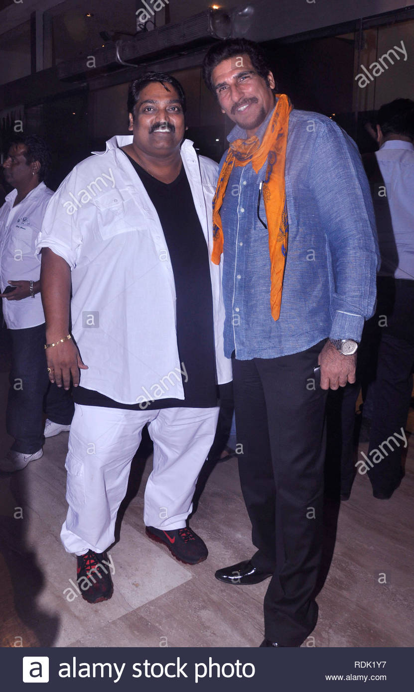 Bollywood choreographer Ganesh Acharya and actor Mukesh Rishi pose during the premiere of film 'Meri Shadi Karao' in Mumbai, India on January 03, 2013. Meri Shadi Karao is a debut movie of Gurdeep Singh, son of popular Indian Bhangra pop singer Daler Mehndi. (Deven Lad/SOLARIS IMAGES) Stock Photo