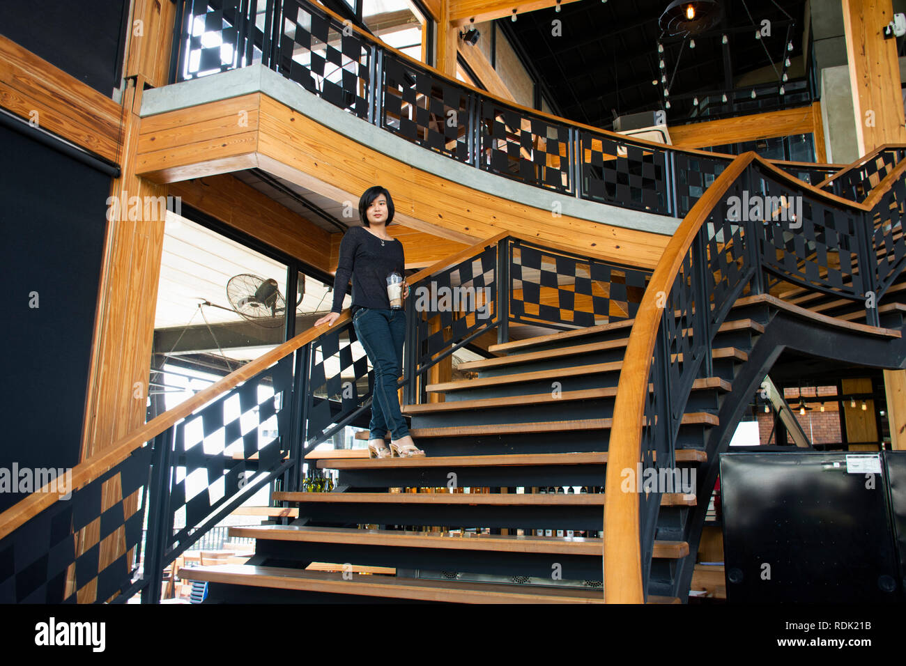 Travelers Thai Women Walking Up On Classic Wooden Stairs In Modern And Luxury Restaurant In Bangkok Thailand Stock Photo Alamy