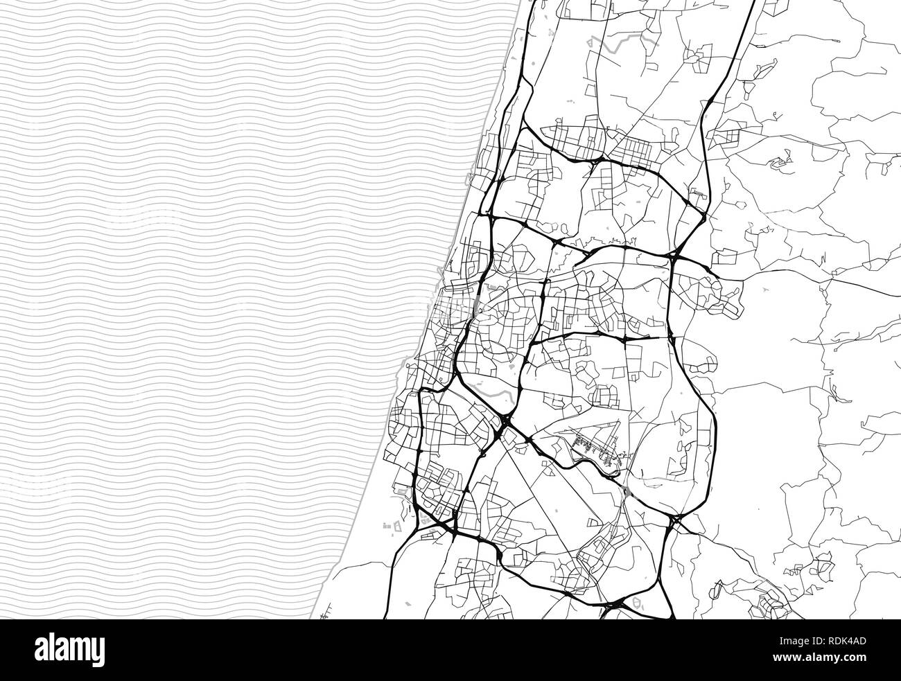 Area map of Tel Aviv, Israel. This artmap of Tel Aviv contains geography lines for land mass, water, major and minor roads. - Stock Image