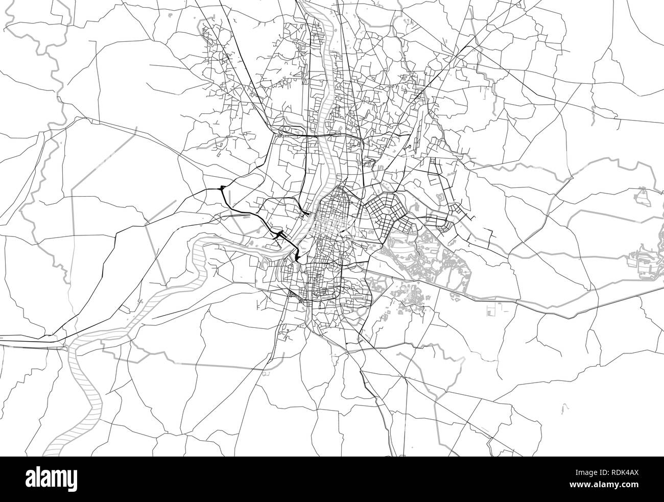 Area map of Kolkatta, India. This artmap of Kolkatta contains geography lines for land mass, water, major and minor roads. - Stock Vector