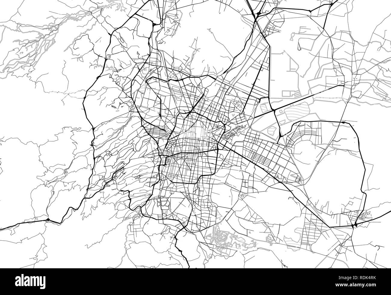 Area map of Mexico City, Mexico. This artmap of Mexico City contains geography lines for land mass, water, major and minor roads. - Stock Vector