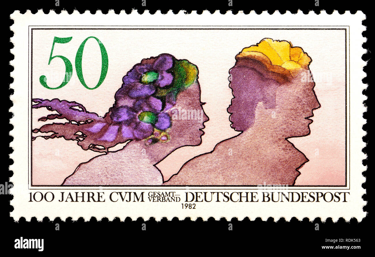 German postage stamp (1982)  : 100 years of the Christlicher Verein Junger Menschen / Christian Association for Young People - Stock Image