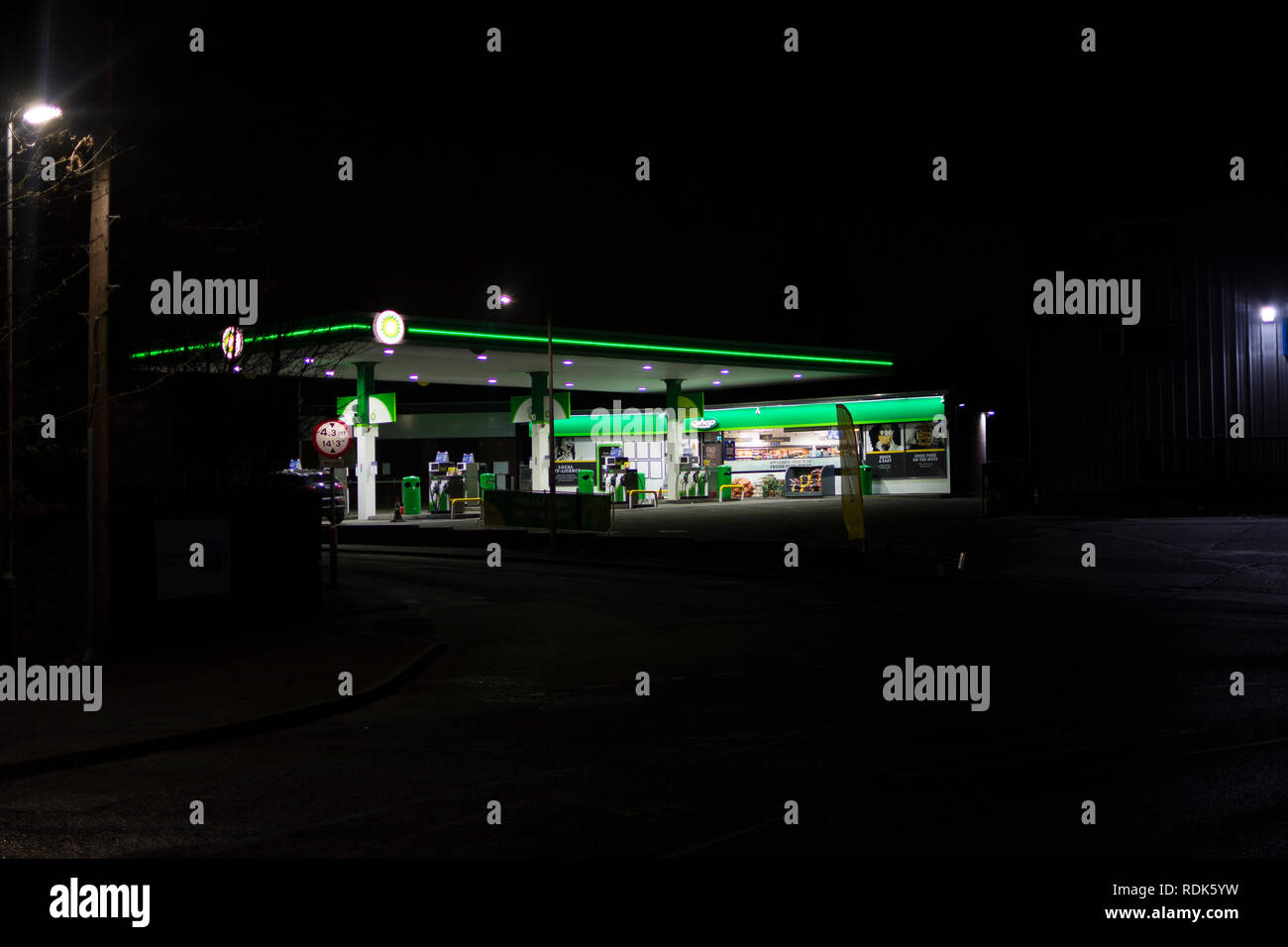 Petrol and service station at night Stock Photo