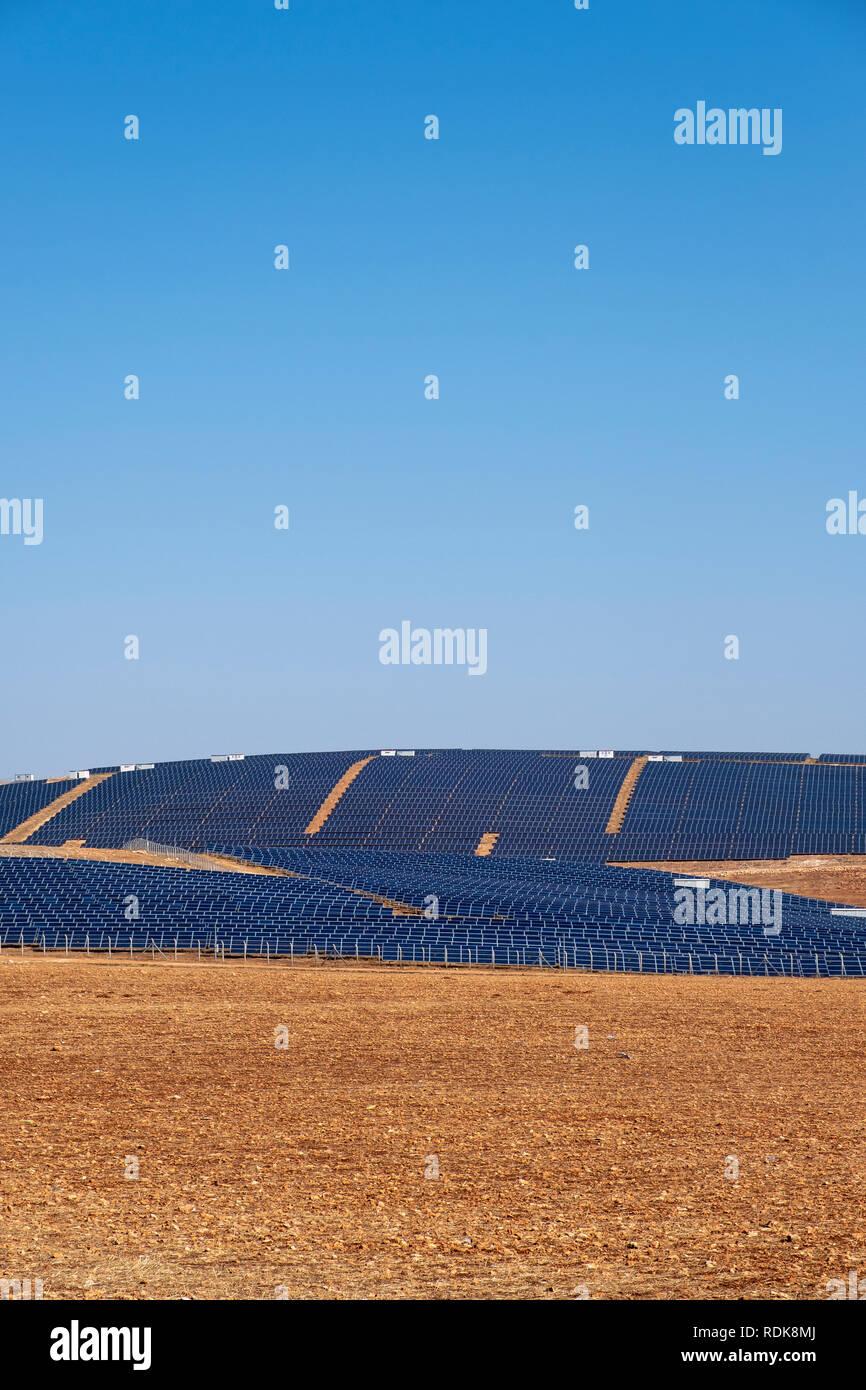 Solar panels on field for solar energy near Sanliurfa, Turkey - Stock Image