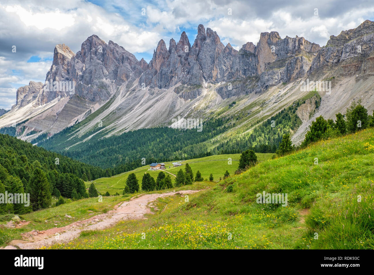 Beautiful alp mountain valley in the Dolomites - Stock Image