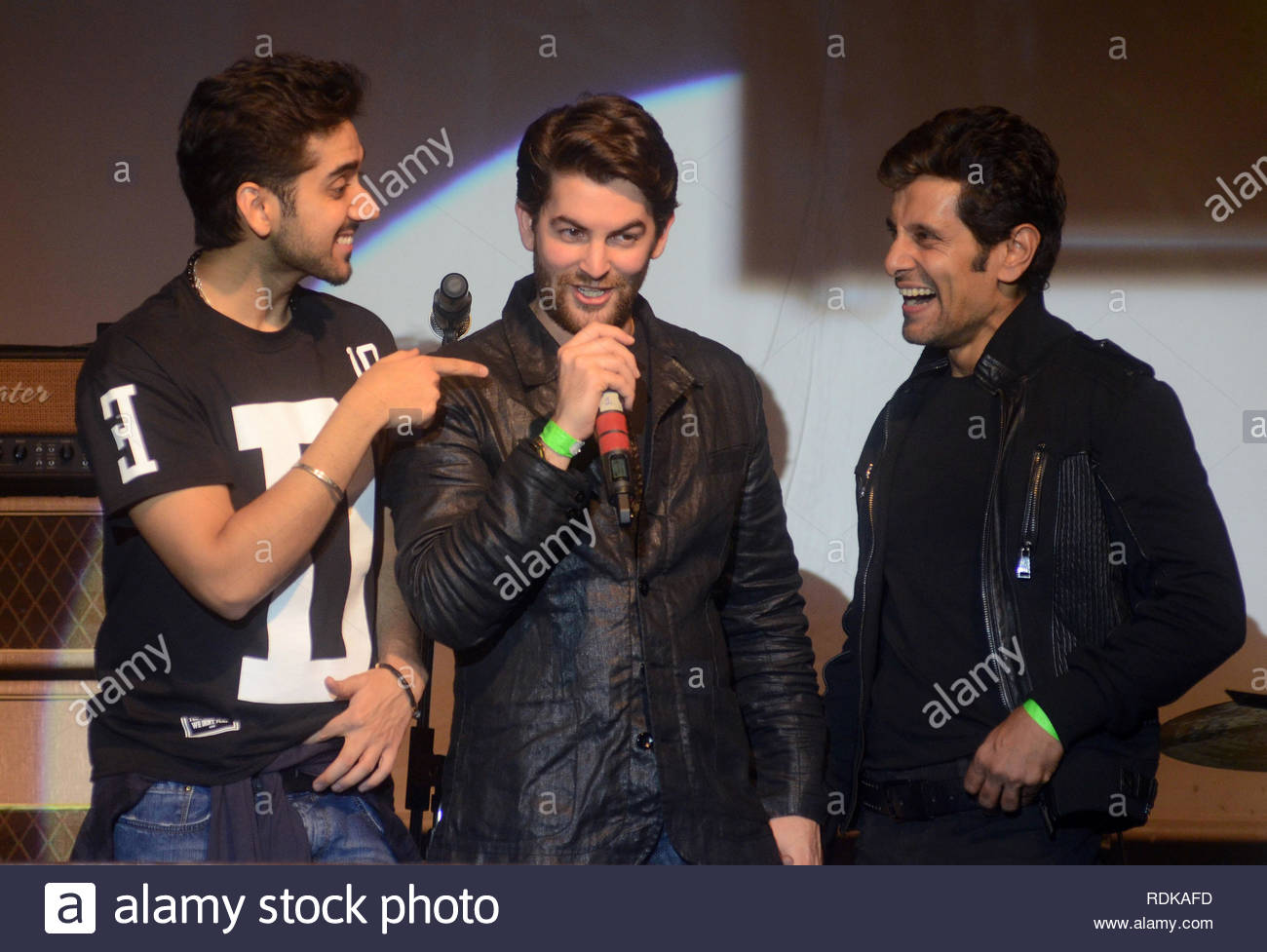 Bollywood actor Vinay Virmani, Neil Nitin Mukesh and  Vikram during the music launch of upcoming film David in Mumbai, India - Stock Image