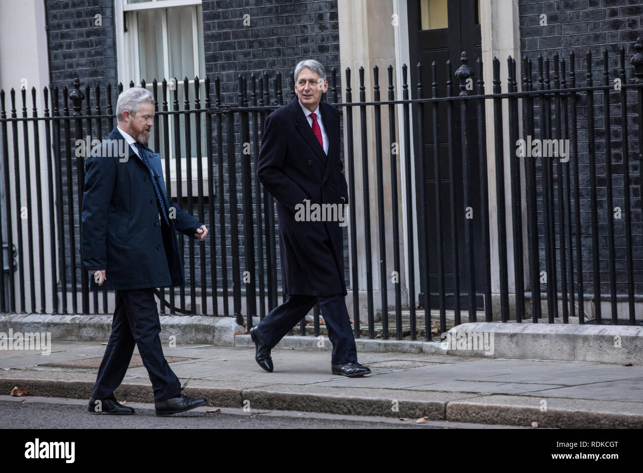 Philip Hammond, outside No.10 Downing Street during the Brexit turmoil within the Conservative Government during the negotiations, London, England, UK - Stock Image